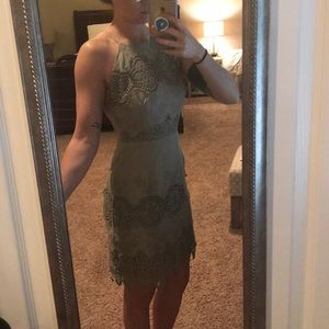 Sage green open backed dress